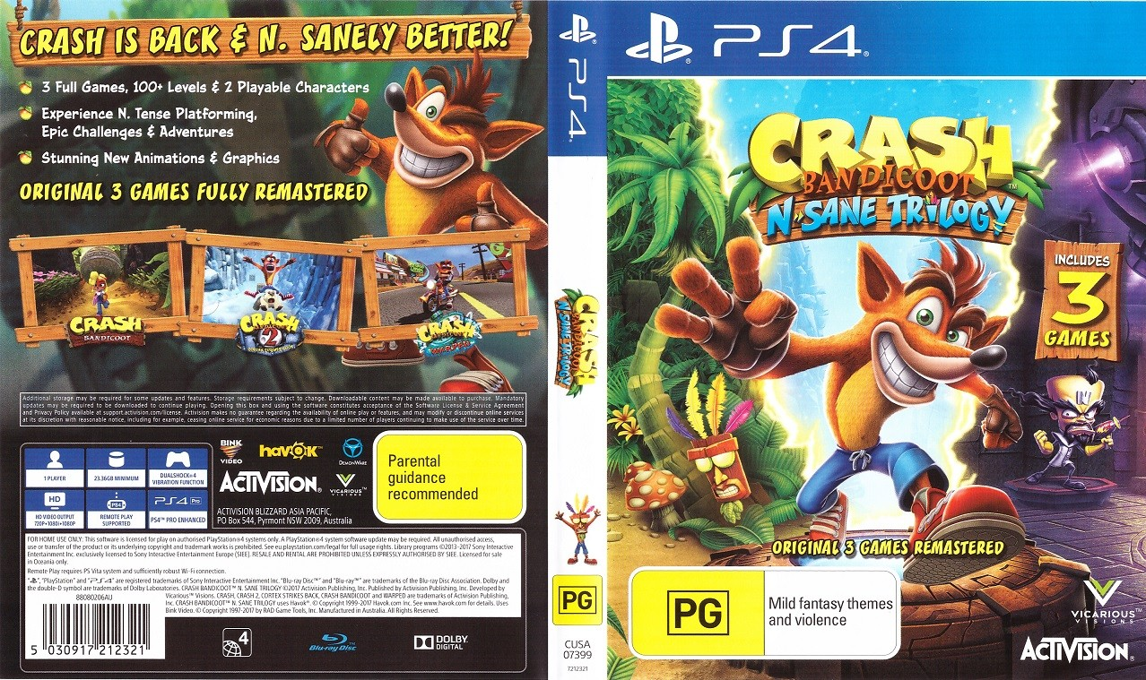 PS4 Crash Bandicoot Н. Sane Trilogy Pkg Oyun Çıktı Torrent